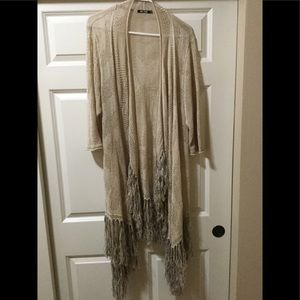 NIC and ZOE Plus size duster with fringe on bottom